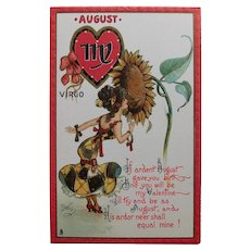 Antique Tuck's ZODIAC VALENTINE Virgo  Postcard - August - Series no. 128