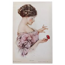 Antique Lady & Engagement or Promise Ring Postcard - His Gift - Proposal Betrothal