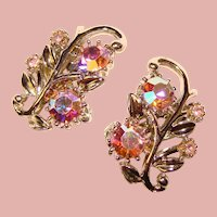 Gorgeous CORO Signed Pink Aurora Rhinestone Vintage Clip Earrings