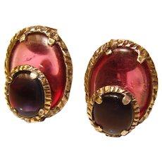 Fabulous TRIFARI Red & Blue Renaissance Design Vintage Clip Earrings