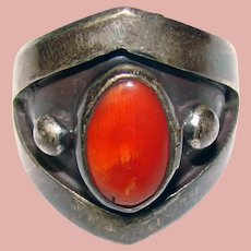 Fabulous STERLING Coral Stone Vintage Ring
