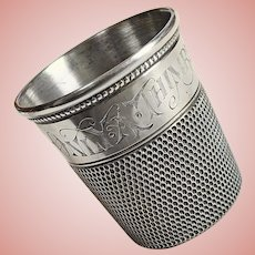 Sterling ONLY A THIMBLE FULL Shot Glass Cup - Jigger