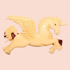 Awesome UNICORN Pegasus Carved Celluloid Vintage Hair Clip