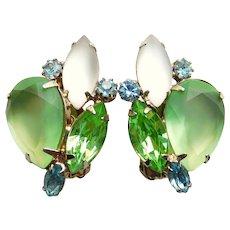 Gorgeous GREEN FROST Rhinestone Vintage Clip Earrings