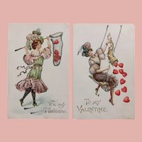 Valentine CATCH & RELEASE Antique Postcards - Lady & Heart Theme - Pair of 2