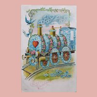 Valentine TRAIN Locomotive Antique Postcard