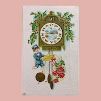 Antique NEW YEAR Postcard - Telegram Messenger & Cuckoo Clock