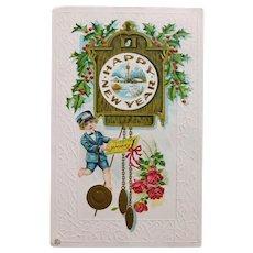 Antique NEW YEAR Postcard - Telegram Messenger & Cuckoo Clock