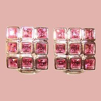 Gorgeous PINK RHINESTONE Vintage Clip Earrings