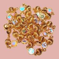 Gorgeous BEZEL EDGE SET Aurora Colored Austria Crystal Stones Necklace