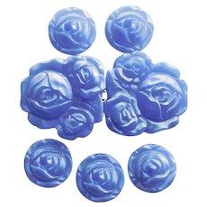 Fabulous CZECH ART DECO Blue Glass Buttons & Buckle Set - Signed Czechoslovakia