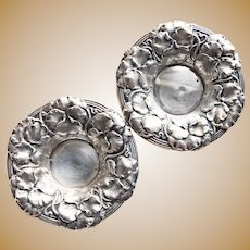 Antique Sterling PANSY Nut Cups or Candy Dishes - Signed Watrous