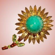 Fabulous JUDY LEE Signed High Dome Rhinestone Flower Vintage Brooch