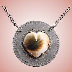 Fabulous STERLING & OPERCULUM Heart Shaped Cats Eye Necklace - Handmade