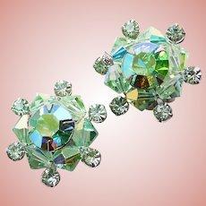 Gorgeous Green Aurora Rhinestone & Crystal Vintage Clip Earrings