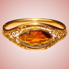 Fabulous Antique Amber Glass Stone Ornate Gold Filled Hinged Bangle Bracelet