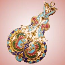 Fabulous Antique ENAMELED Ornate Dance Card Chatelaine Note Pad Memo Pendant