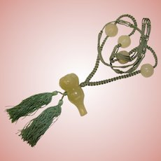 Gorgeous Nephrite Jade Carved Face Beads & Knotted Cord Vintage Necklace
