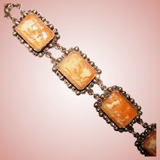 Fabulous Antique 850 Silver Carved Shell Cameo Panel Bracelet with Marcasite