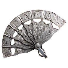 Sterling FOLDING FAN Vintage Charm - Mechanical Movable - Souvenir of Spain España
