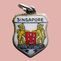 800 Silver & Enamel SINGAPORE Charm - Souvenir Travel Shield