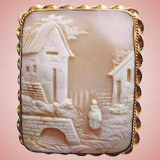 Fabulous Antique Carved Shell Cameo Scenic Brooch or Pendant