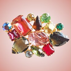 Gorgeous RIOT OF COLOR Rhinestone Vintage Brooch