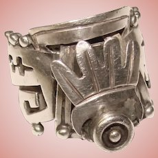Fabulous TAXCO STERLING Ornate Aztec Design Vintage Poison Ring – Mexico