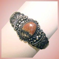 Fabulous NATIVE AMERICAN Vintage Sterling & Agate Stone Bracelet