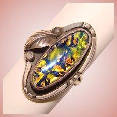 Fabulous STERLING Opal Glass Dragon's Breath Stone Vintage Ring