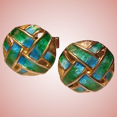 Fabulous STERLING ENAMEL Vintage Basketweave Design Cufflinks