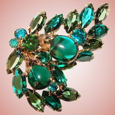 Fabulous GREEN & TEAL Navette Rhinestones Vintage Brooch