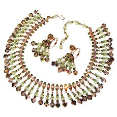 Fabulous GREEN Aurora Crystal Glass Rhinestone Vintage Dangle Collar Necklace Set