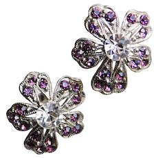Gorgeous PANSY Purple Rhinestone Vintage Earrings - Screw Backs