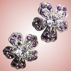 Gorgeous PANSY Purple Rhinestone Vintage Earrings - Screw Backs