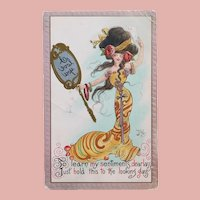 Antique HOLD TO MIRROR Secret Message Postcard - I Love You