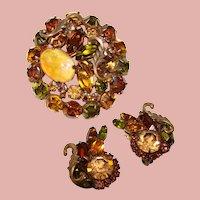 Fabulous DRAGONS BREATH Glass Stone & Rhinestone Vintage Brooch Set