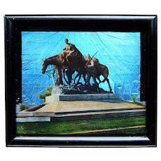 Fabulous BUTTERFLY WING Pioneer Mother Monument Statue Vintage Picture - Reverse Painted Glass