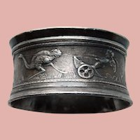 Antique Victorian CUPID & OSTRICH Silver Plated Napkin Ring