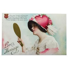 Antique Lady with Cupid's Heart Hat Postcard - Romantic