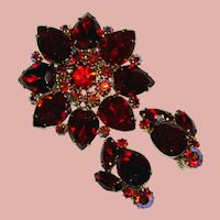 Fabulous RED & RED Aurora Vintage Rhinestone Brooch Set