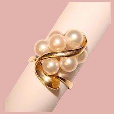 Opulent 14K Gold Cultured Pearls Vintage Ring