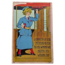 Antique Lady Train Conductor Postcard - Circa 1908