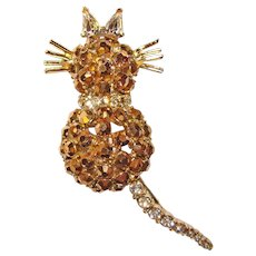Fabulous CAT with Spring Tail Gold Flash Rhinestone Vintage Brooch
