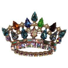 Fabulous B DAVID Royal Rhinestone Crown Design Brooch