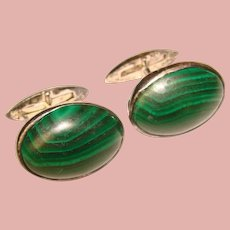 Awesome Vintage STERLING Malachite Stone Cufflinks