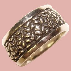 Awesome STERLING Silver Thick Patterned Design Band Ring