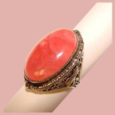 Fabulous STERLING Pink Quartz Filigree Design Vintage Ring