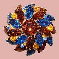 Fabulous CAPRI BLUE Topaz Brown Amber Rhinestone Vintage Brooch