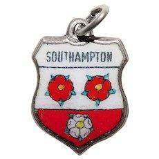 Sterling & Enamel SOUTHAMPTON Vintage Charm - Souvenir of England Great Britain - Travel Shield